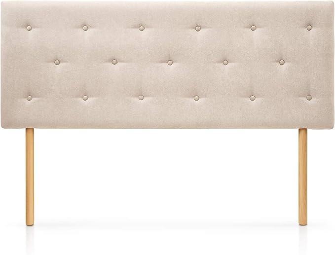 SUENOSZZZ-ESPECIALISTAS DEL DESCANSO Cabecero de Cama Helsinki con Patas nórdicas y tapizado en Tela para Camas de 90 (100 x 100 cm) Tela Beige