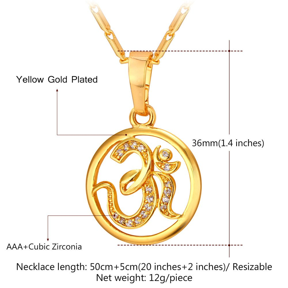 U7 Brand AUM OM Pendant Charm Necklace India Hinduism Jewelry 18K Gold Plated Amulet Necklace by U7 (Image #7)