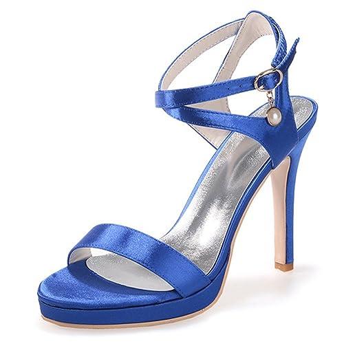 per Sandalo Elasticizzato da Scarpe in Sposa da Elobaby Raso Donna cYUqw4wf