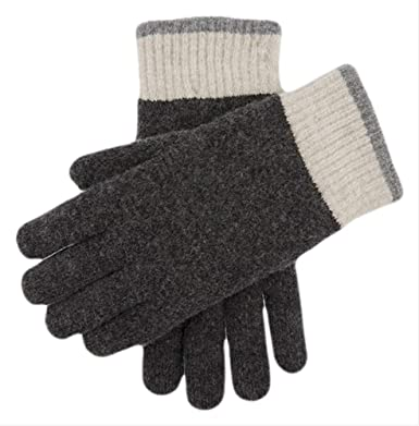 1d1ee16a4c046 Dents Mens Totnes Contrast Cuff Knitted Gloves - Charcoal L Charcoal ...