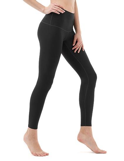 TSLA Yoga Pants Mid-Waist/High-Waist Tummy Control w Side/Hidden Pocket Series, Yogabasic Thick Contour(fyp52) - Heather Charcoal, X-Large (Size ...