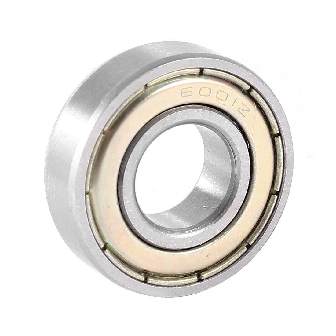 sourcingmap/® Rodamiento radial de bolas de ranura profunda 6001Z 12mmx28mmx8mm metal blindado