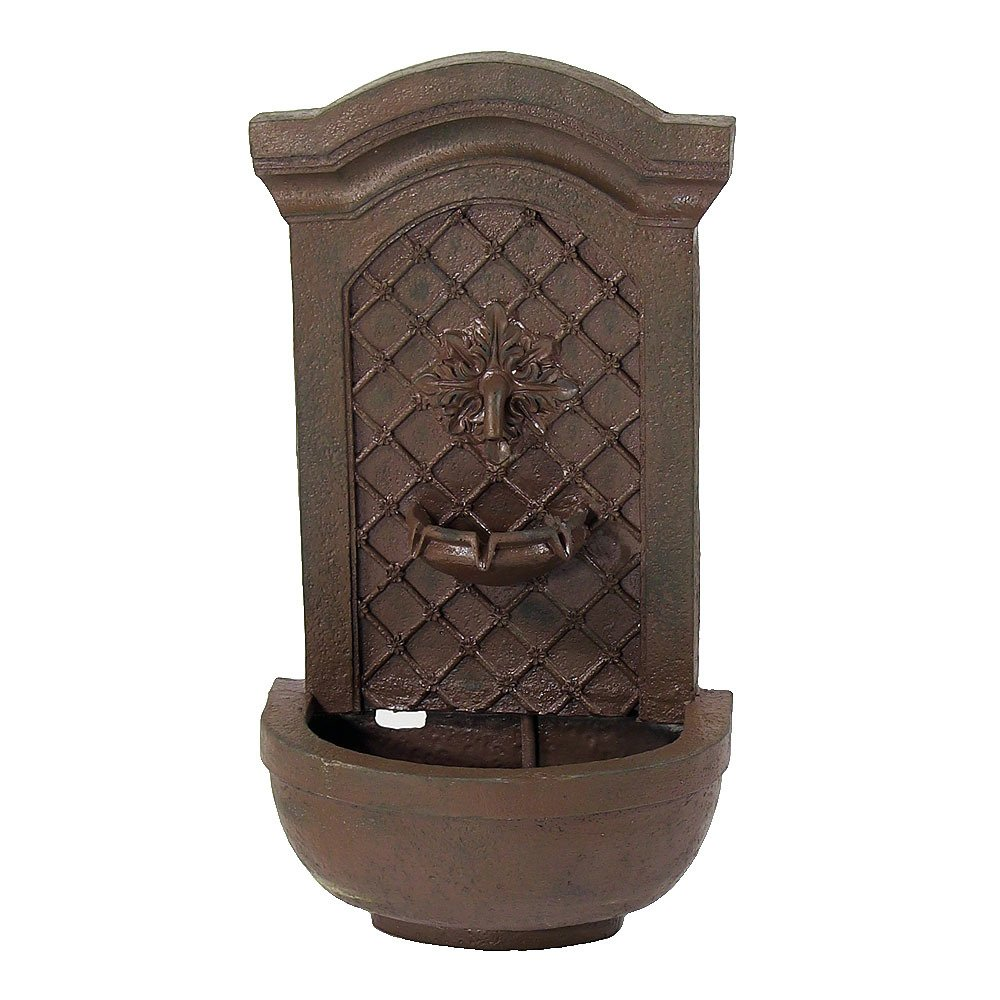Sunnydaze Rosette Leaf Outdoor Wall Fountain, Iron Finish, 31 Inch