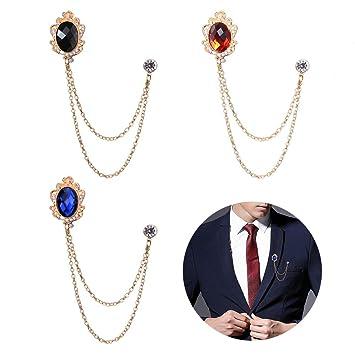 Amazon.com: Huture 3 paquetes de broche de gema para hombre ...