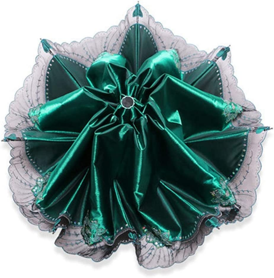 ZhiGe Foldable Umbrella,Quality Folding Lace Umbrella Parasol Rain Women Strong Kids Umbrellas for Girl Wedding UV Flower Ladies