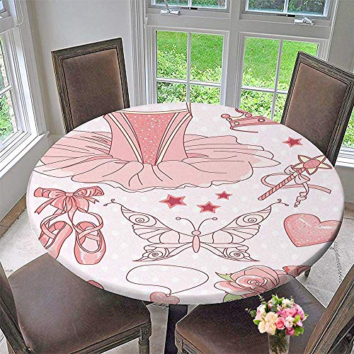 Mikihome Round Premium Tablecloth Teen Set of Princess Ballerina Classic Costume Shoes Tiara Roses Pink Stain Resistant 50