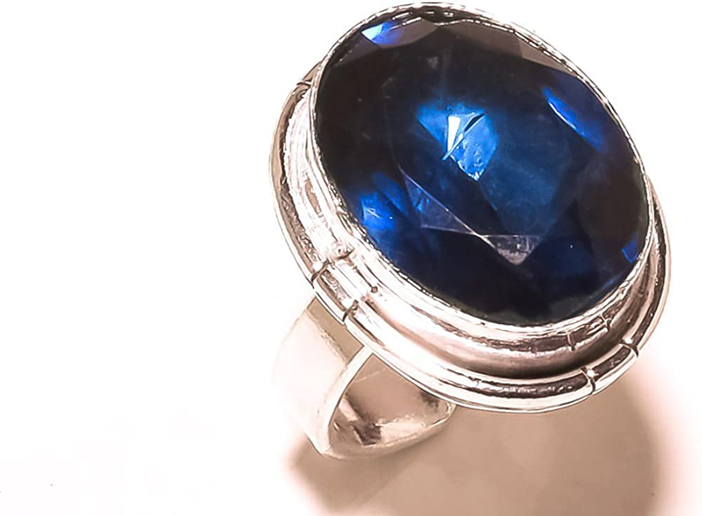 Blue Topaz Quartz Sterling Silver Overlay Ring Size 5.5 US Sizable Handmade Jewelry Ethnic