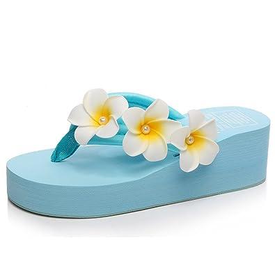 Eagsouni Damen Plateau Sandalen Plattform Flip Flops, Sommer Mädchen Blume Keilabsatz Hausschuhe