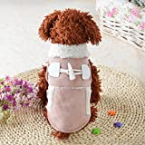 Puppy Clothes,Neartime Winter Garment Coat Apparel Doggy Warm Motorcycle Costume (XS, Khaki)