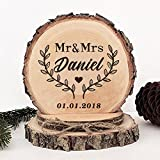KISKISTONITE Wooden Wedding Cake Toppers Rustic, Personalized Growing Leaves Design, Engraved Mr and Mrs Country Style Cake Decoration Favors Party Decorating Supplies