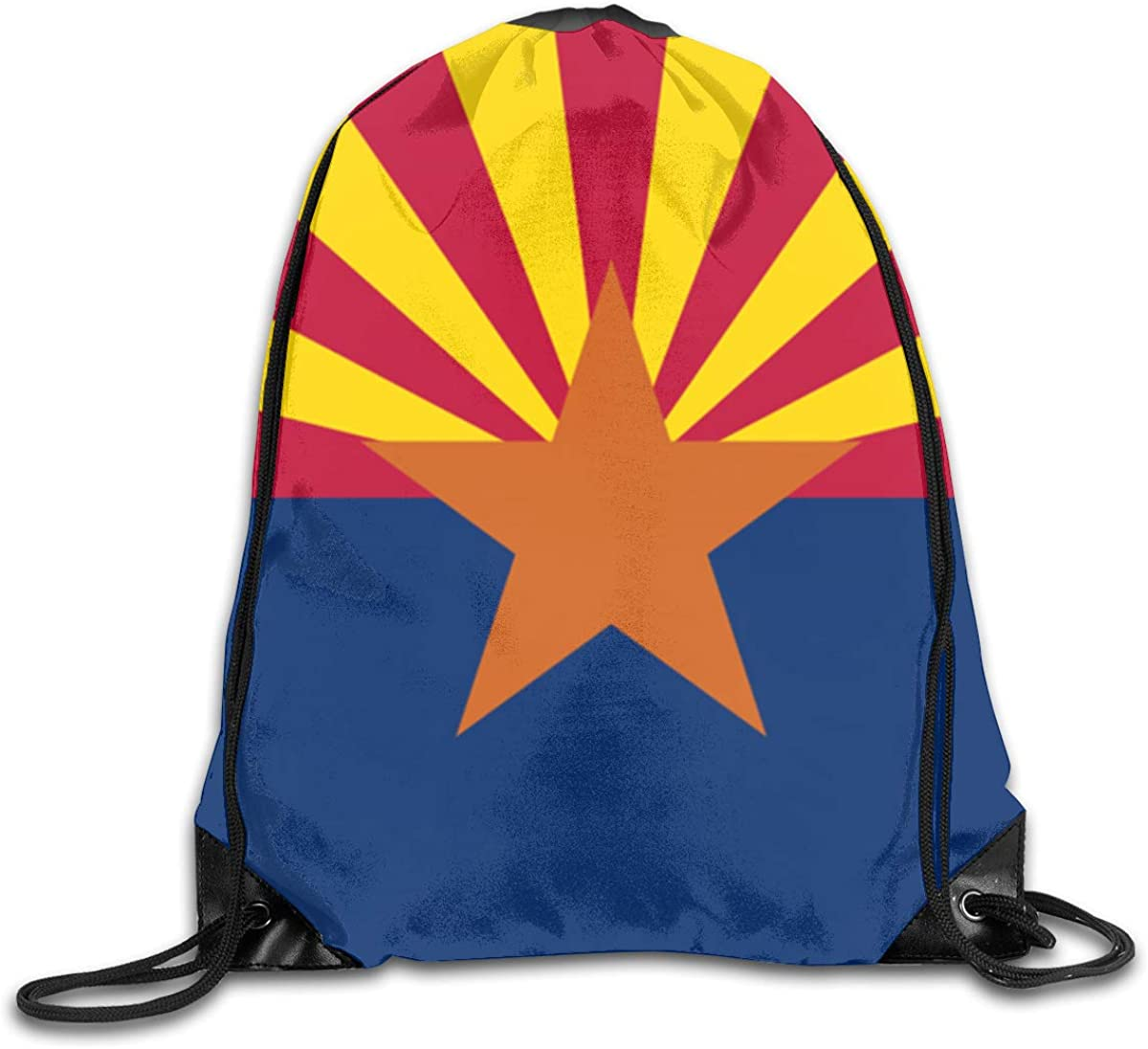 Arizona State Flag Beam Mouth Backpack Pull Rope Shoulder Bag Outdoor Sports Leisure Bag