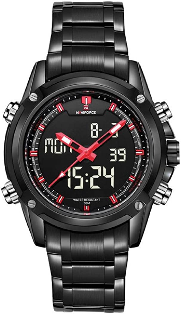Military Sports Watches Men s Dual-display Multi-function Stainless Steel Mens LED Digital Watches Red