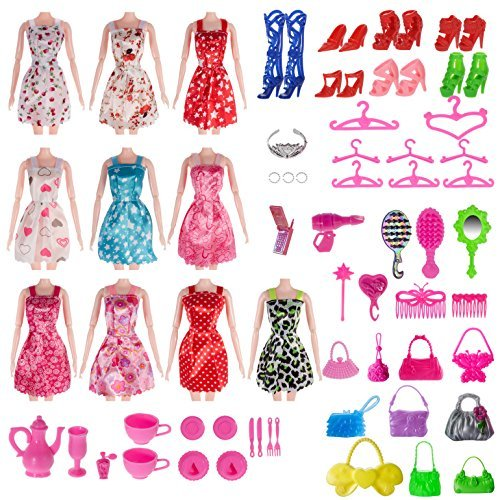: Total 120pcs -10 Pack Doll Clothes Party Gown Outfits +10pcs bags +100pcs Different Doll Accessories Shoes Glasses Necklace Tableware Mirror For Barbie Doll Girl Birthday Gift