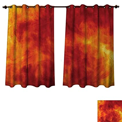 Amazon.com: Anzhouqux Orange Bedroom Thermal Blackout Curtains ...