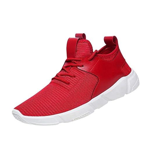 Zapatos de hombre Zapatillas de deporte para hombres Moda Correas Excursionismo Deportes Corriendo Casual Sólido Zapatos LMMVP (Rojo, 42): Amazon.es: ...