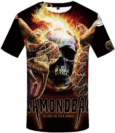 SYSFOUR Camiseta Hombre Llama Camiseta Punk Rock Ropa Serpiente Camiseta con Estampado 3D Gótico Animal Ropa para Hombre Casual Tops Verano Nuevo: Amazon.es: Ropa y accesorios