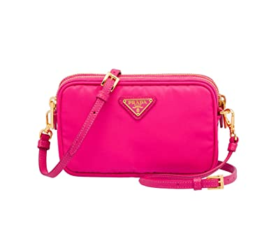 Prada 1N1861 Tessuto Nylon and Leather Crossbody Bag Fuschia Hot ...