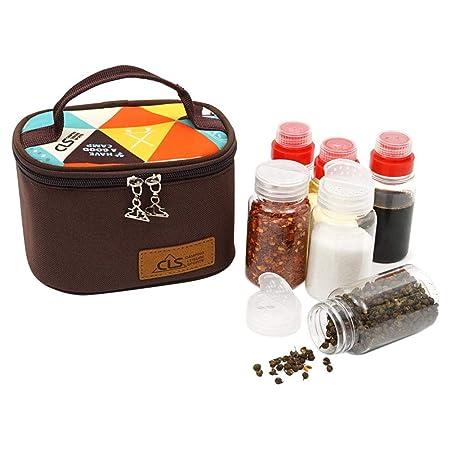 Cherishly Set de Botella de condimento Al Aire Libre Barbacoa para Acampar Alimenticio Cruet Tanque de condimento Almacenamiento port/átil Caja de condimento