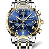 CARNIVAL Mens Automatic Machine Gold Stainless Steel Sapphire Waterproof Mens Multifunction Blue Watch