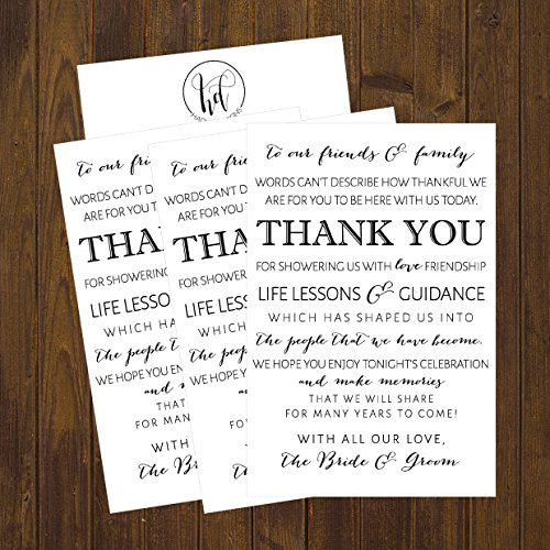 50 Wedding Thank You Place Cards, Rehearsal Dinner Thank You Table Sign, Menu Place Setting Card Notes, Placement Thank You Note Favors For Family & Guests Photo #5