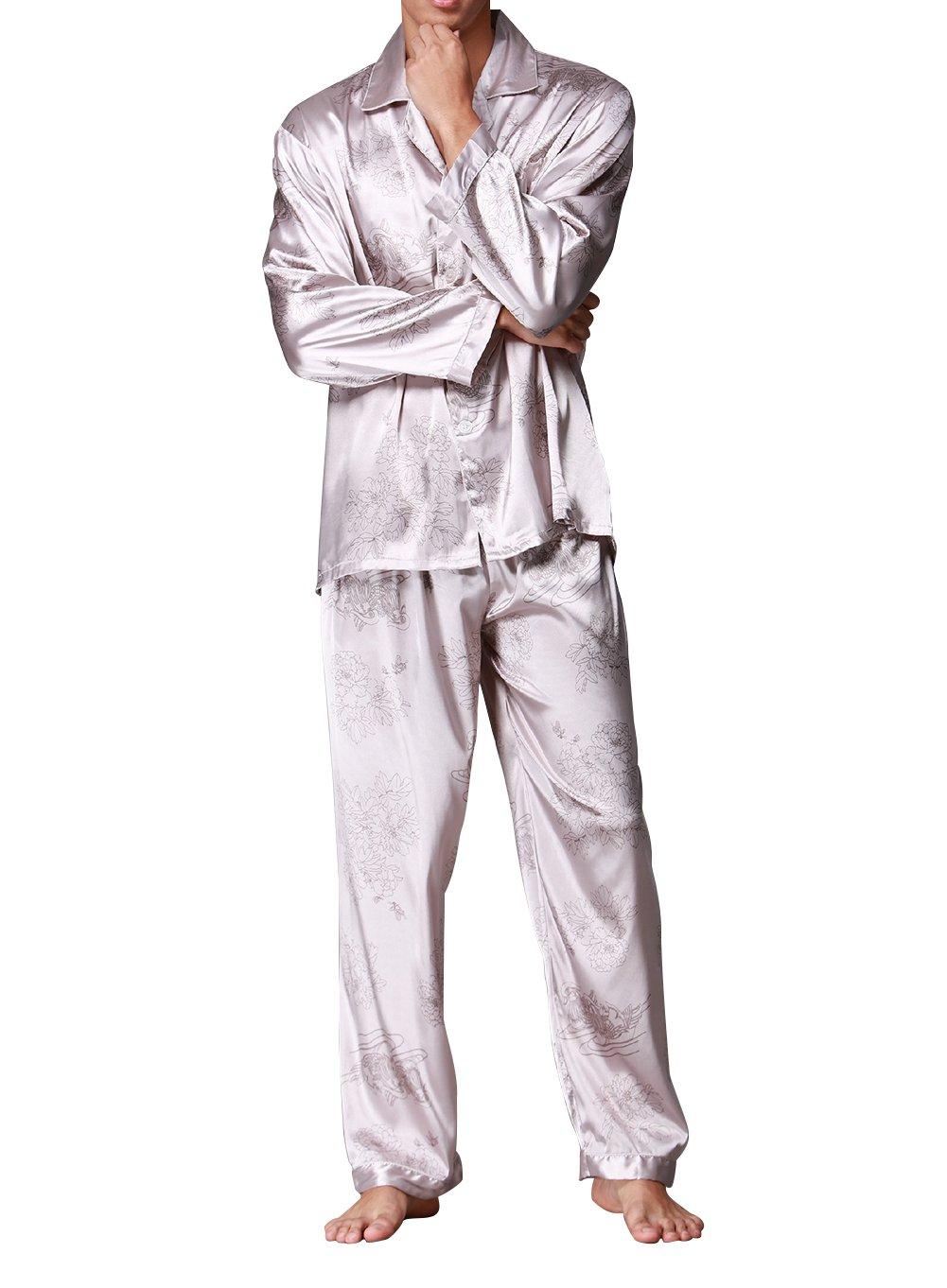 Musen Men's Silk Pajama Sets 2pcs Satin Sleepwear Loungewear Mandarin Duck Grey XL