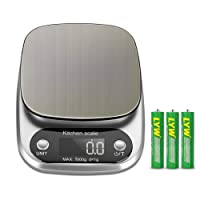 0.1g-2kg Digital Kitchen Scale Pocket Food Scale Ultra Slim High Accuracy for Food and Jewelry (Battery Included)