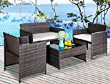 Leisure Zone 4 PC Rattan Patio Furniture Set Garden Lawn Sofa Cushioned Seat Wicker Sofa (Brown)