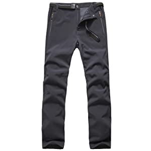 FLYGAGA 登山ズボン アウトドアパンツ 吸汗速乾 防水厚手 裏起毛 防寒 通気 秋冬用 メンズ (XL, グレー)