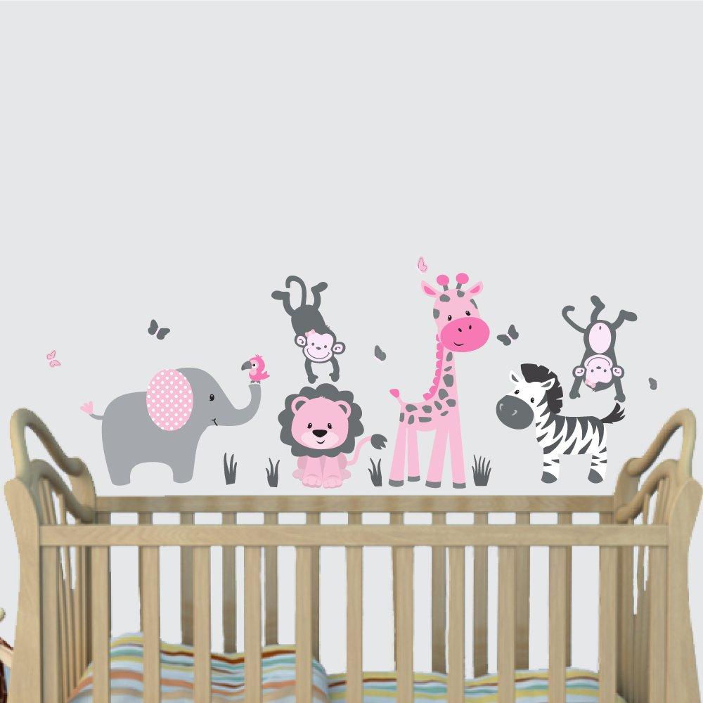 Amazon elephant nursery tree decal pink wall stickers mini pink jungle animal wall decals jungle mural elephant lion giraffe amipublicfo Choice Image