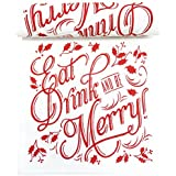 Linen Printed Luncheon Napkin - 8.0 x 8.0 in - 20 units per roll - Ecru with Red  - Eat Drink & Be Merry