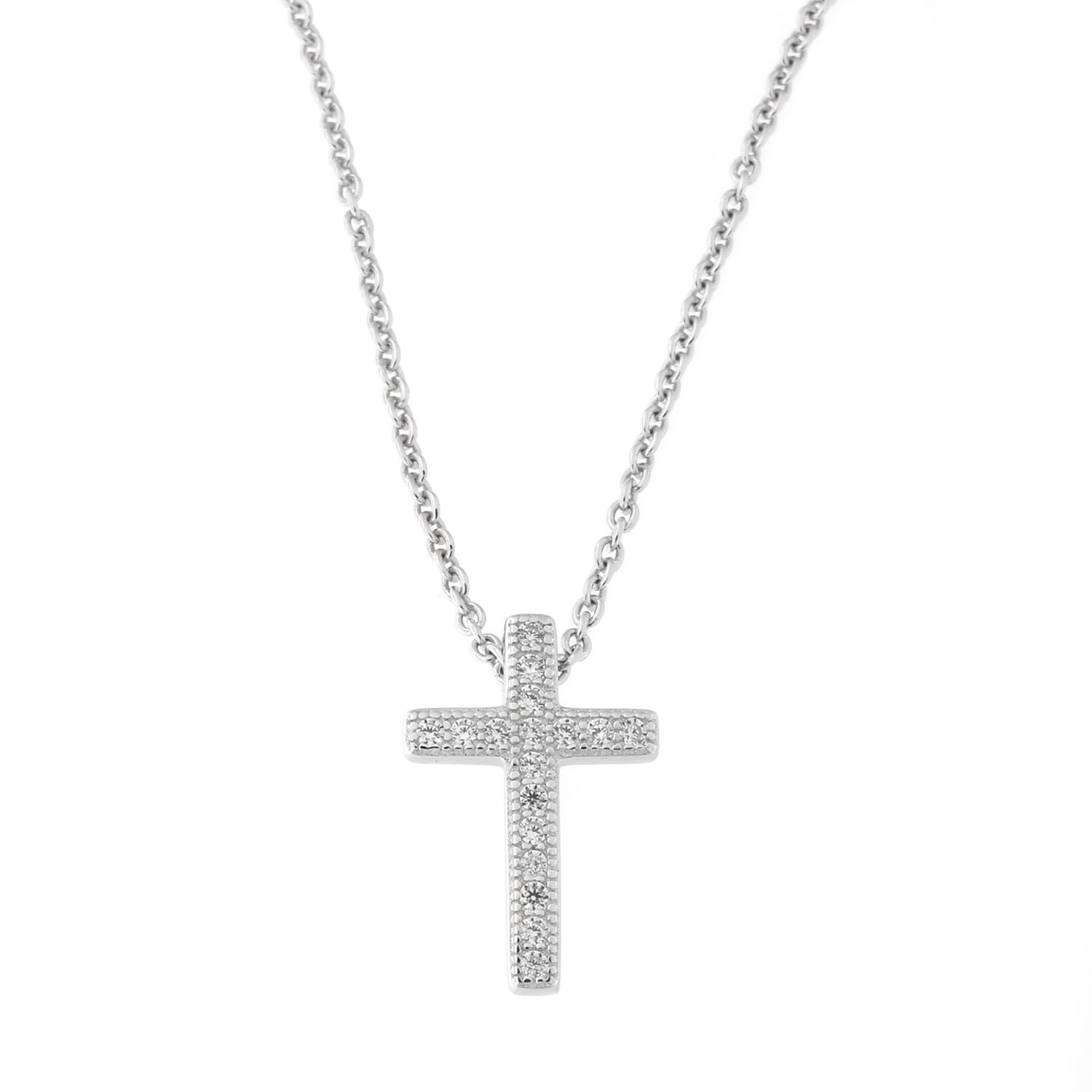 Beauniq Solid Sterling Silver Rhodium Plated Cubic Zirconia Cross Pendant Necklace