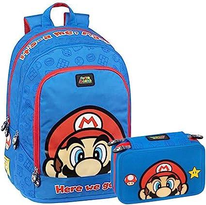 Super Mario Schoolpack – Mochila escolar organizada con 3 cremalleras + estuche con 3 cremalleras: Amazon.es: Oficina y papelería