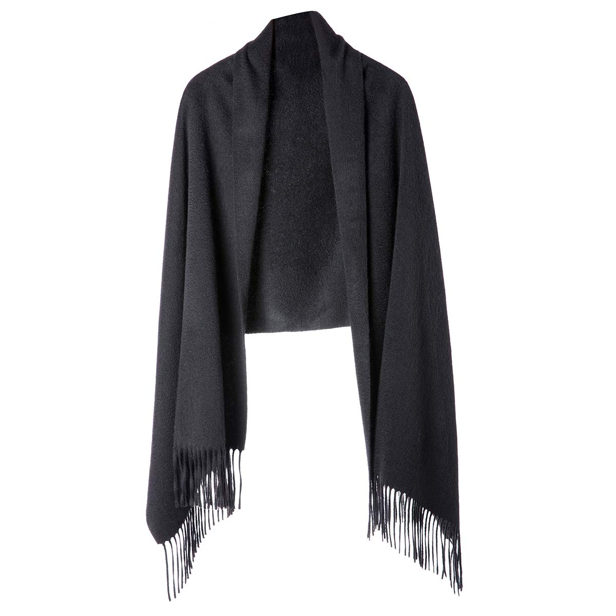 Cashmere Wrap Shawl for Women | Authentic 100% Pure Cashmere Extra Large (75inx25.6in) Scarf, Black