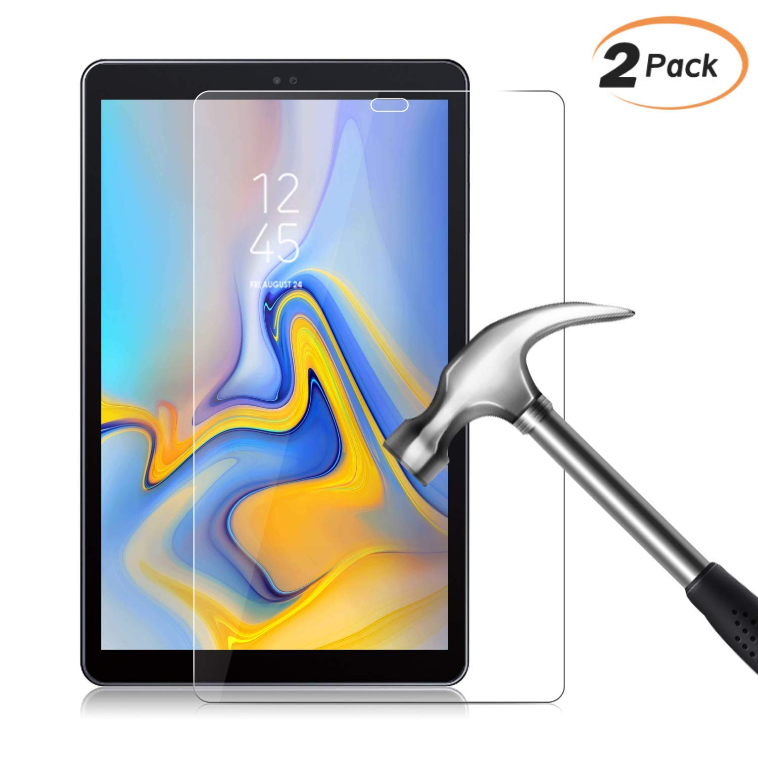 Clear High Definition SM-T590//T595 Film KATUMO Screen Protector for Samsung Galaxy Tab A 10.5 2018 Tempered Glass 2-Pack