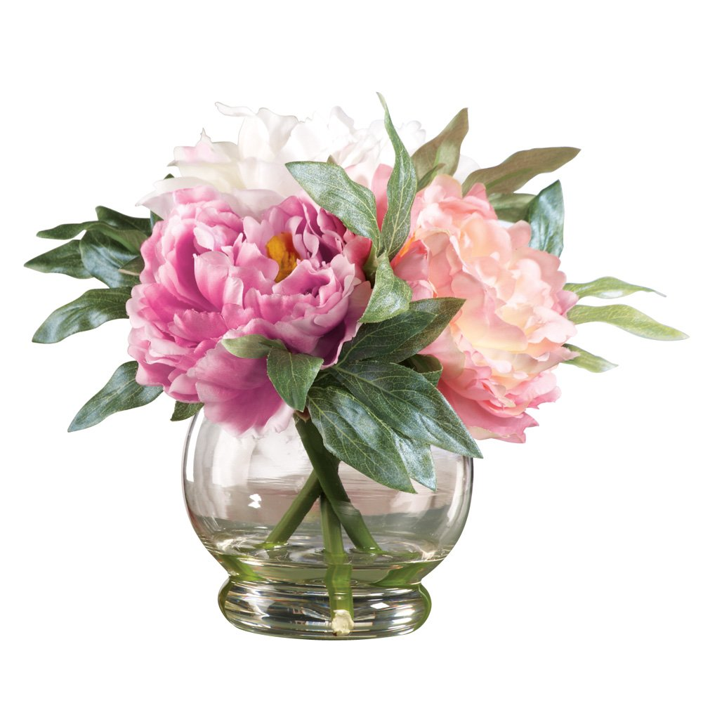 Amazon faux peony floral bouquet in vase pink kitchen dining reviewsmspy