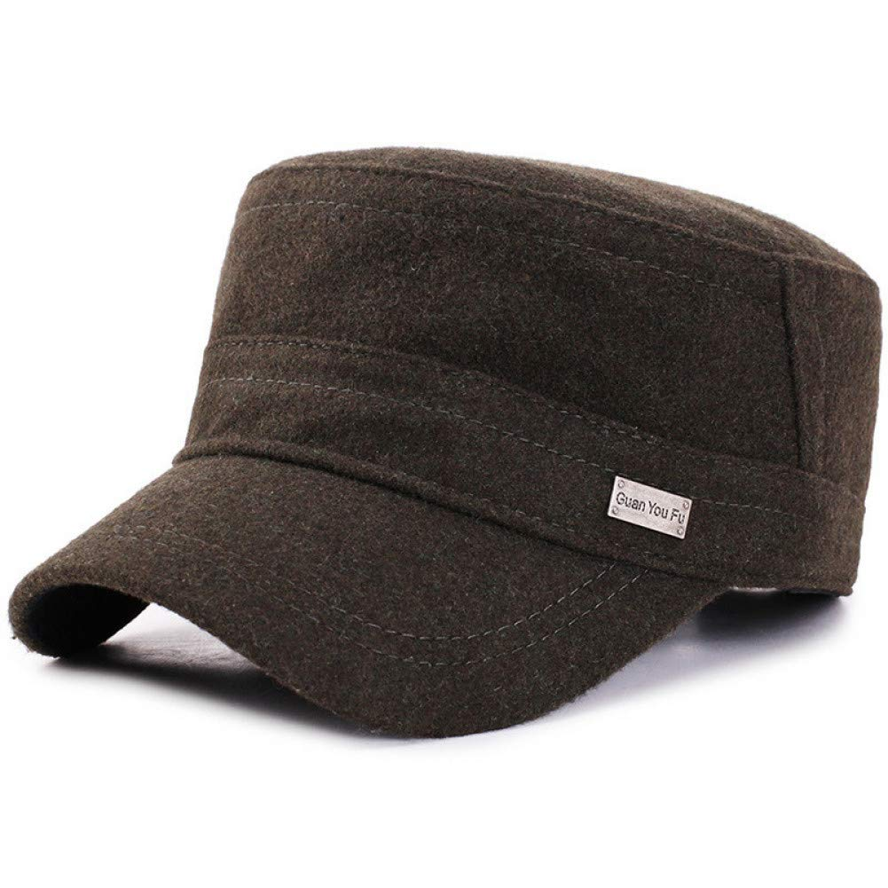 Baseball cap Wool Mens Winter Warm Military Cap With Ear Flaps Flat Top Caps Adjustable Winter Hats For Men