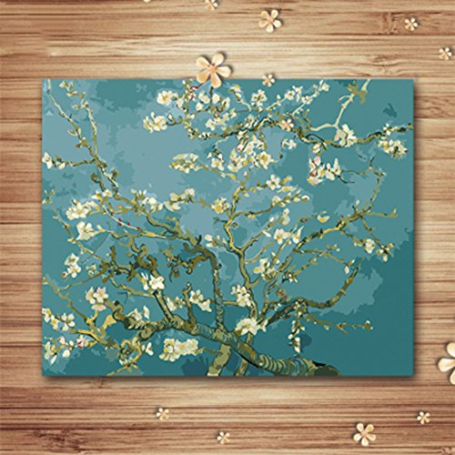 Wowdecor Paint by Numbers Kits for Adults Kids, DIY Number Painting - Apricot Blossom Flowers by Van Gogh 40 x 50 cm - New Stamped Canvas (Framed)