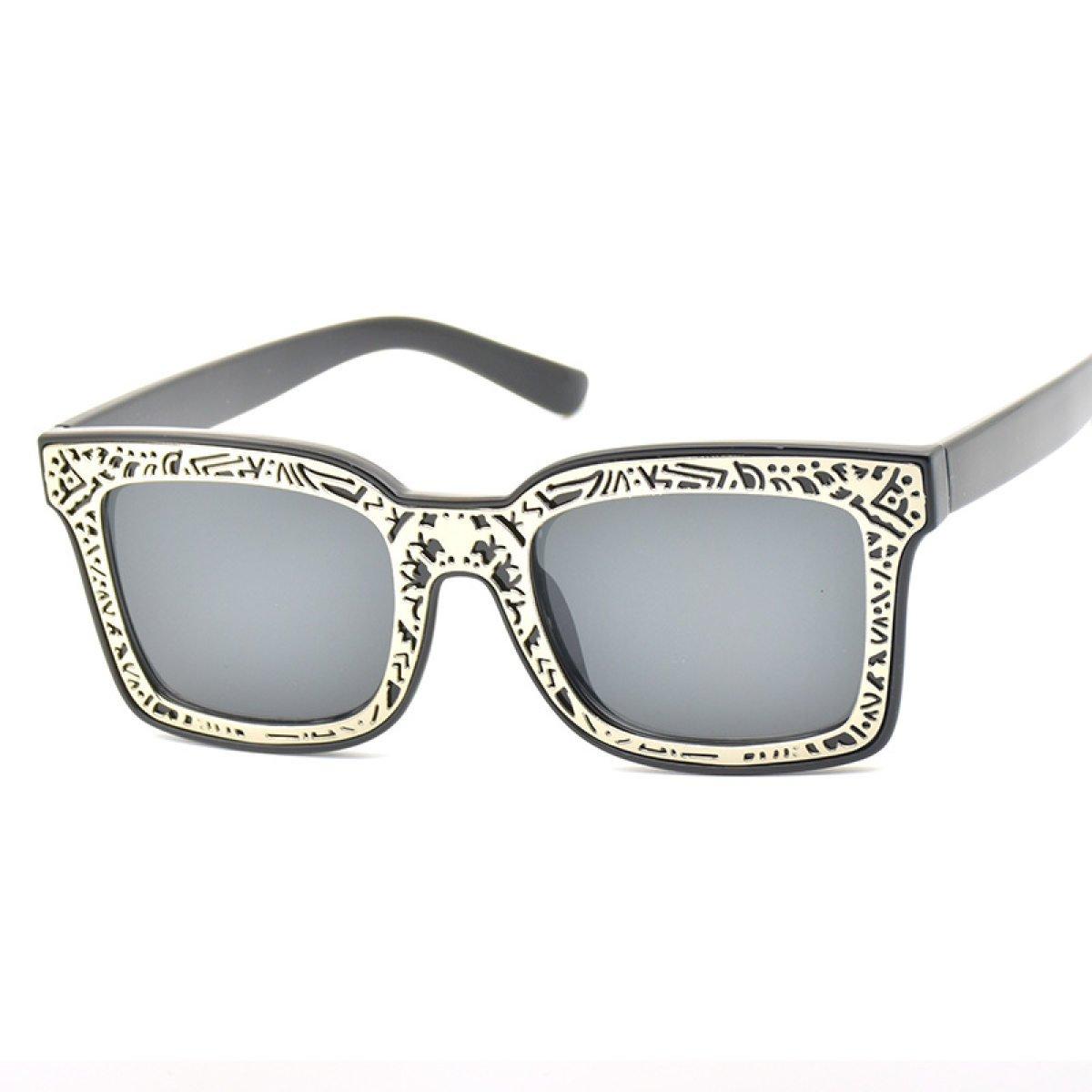 WKAIJC Retro Box Metall Druck Mode Persönlichkeit Bequem Elegant Farbfilm Sonnenbrille,E