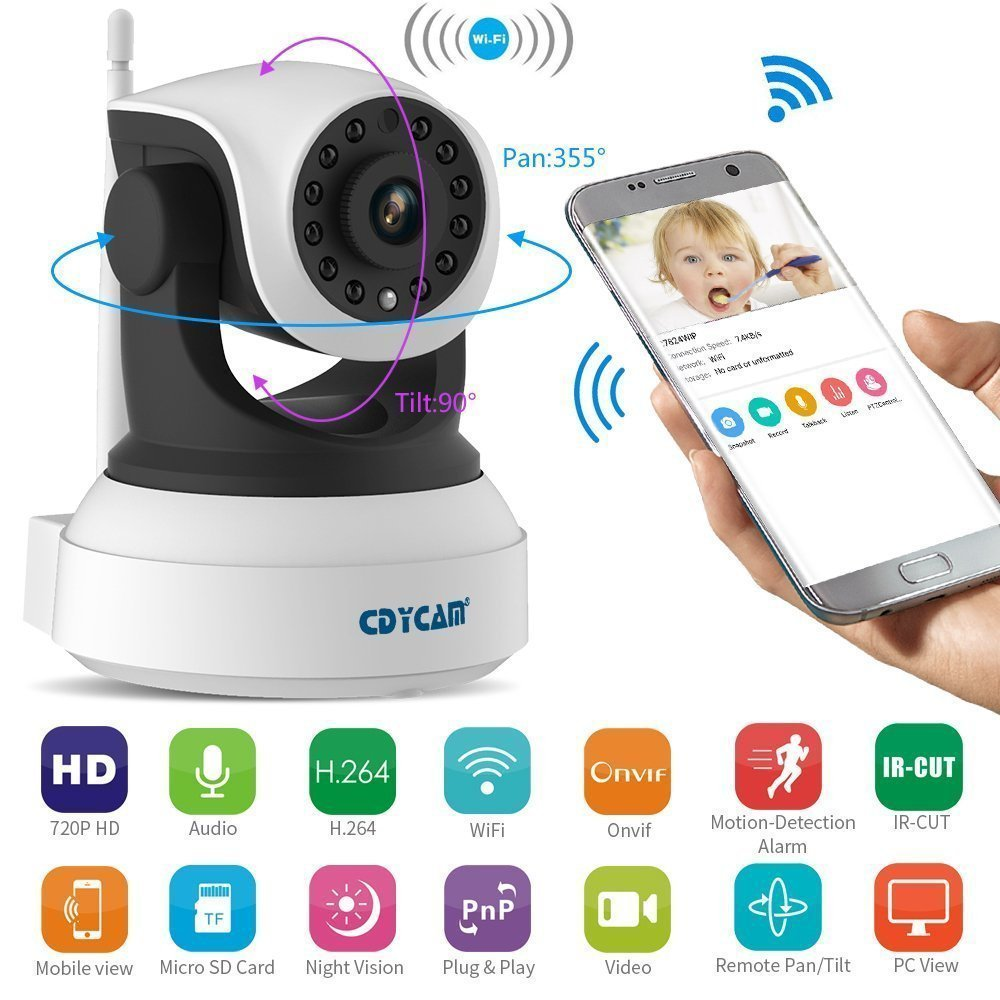 Cdycam Smart 720P HD Wireless IP Camera Home Security Surveillance Baby Pet Monitor with 2 Ways Audio,Night Vision, Video Recording for Android, iOS, Windows PC System
