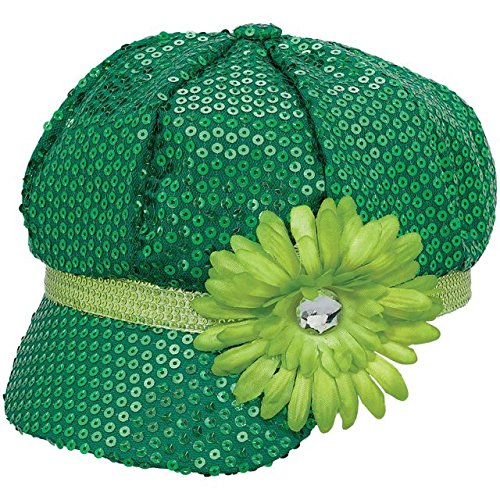 Amscan St. Patrick's Day Sequin Fabric Costume Party Head Wear (1 Piece), Green, 13 1/2