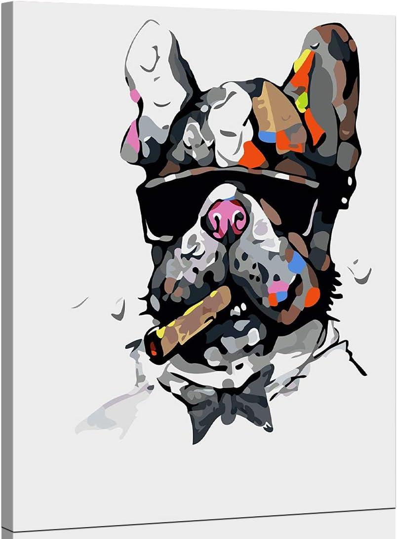 WONZOM Dipingere con i Numeriper Adulti con Cornice DIY Adulti Dipingi per Numero Kits per Principianti su Tela con Cornice in Legno 16 Cane Colorato Animali 20 Pollici