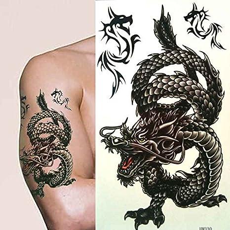 Fat-catz – Hombres/chicos – Tatuaje temporal dragón chino negro ...
