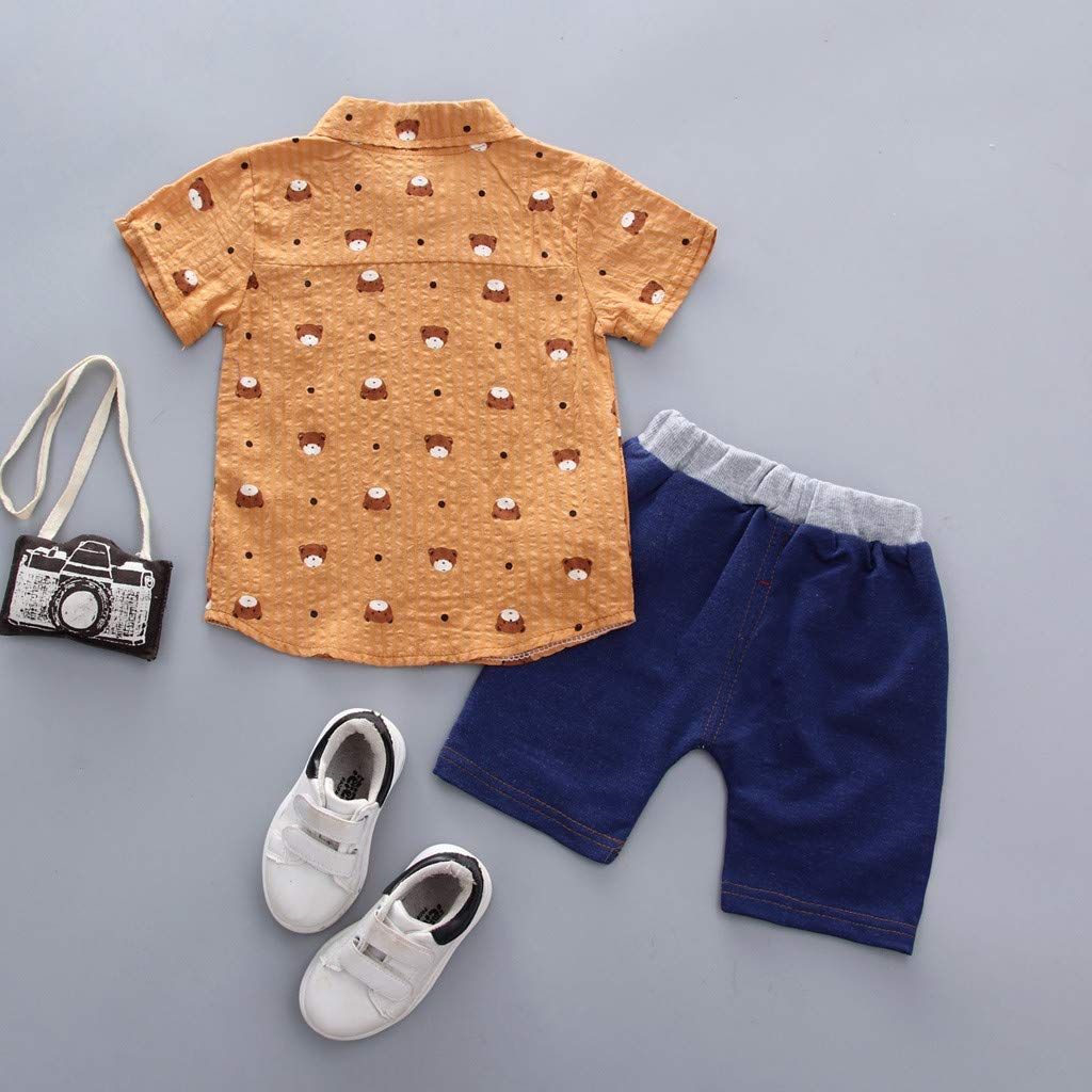 Lavany 2pc Baby Boys Clothes Set Summer Bear Print Shirt Denim Shorts Outfits