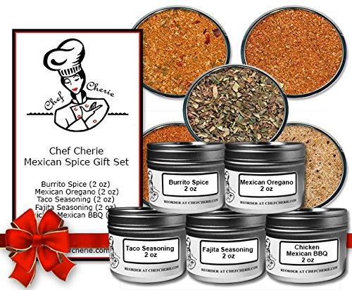 Chef Cherie's Mexican Spice Gift Set-Contains 5 2 oz. Tins