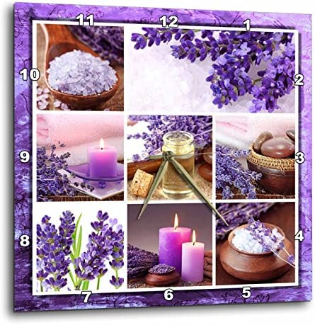 3dRose DPP_41312_1 Lavender Spa Collage Wall Clock, 10 by 10-Inch