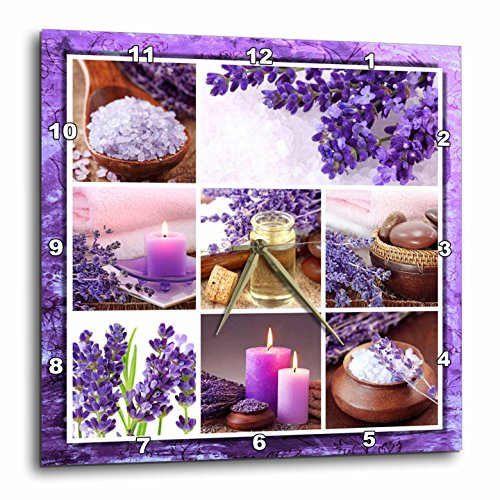 3dRose dpp_41312_1 Lavender Spa Collage Wall Clock, 10 by 10-Inch by 3dRose