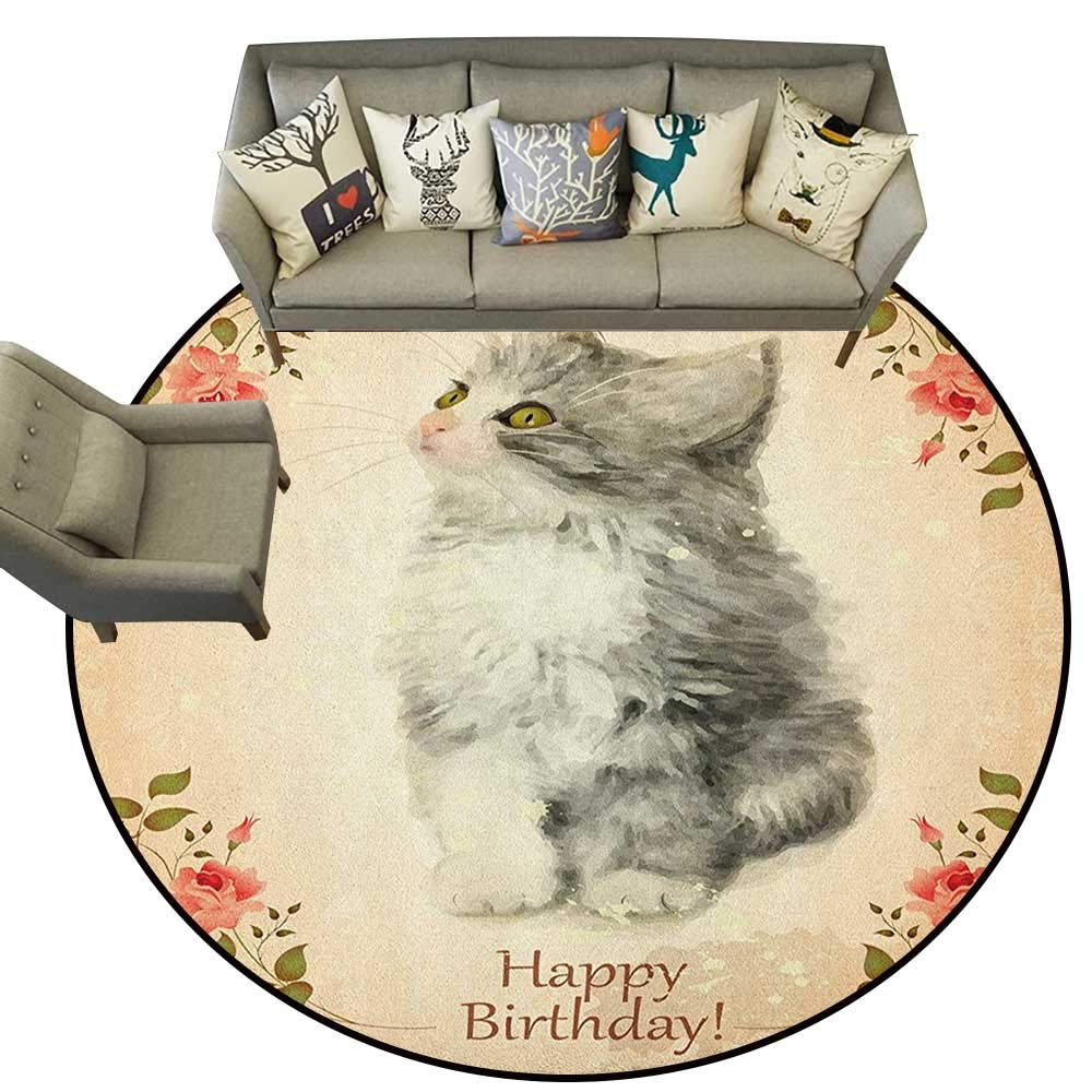 Birthday,Custom Floor mats Adorable Fluffy Cat with Rose Branches in Greeting Card Inspired Design D78 Multi-USE Floor MAT