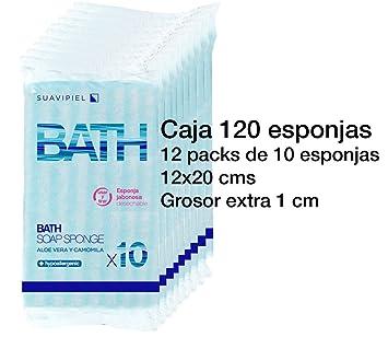 Caja con 120 esponjas jabonosas desechables con grosor extra de 1 cm. Impregnadas con jabón dermatológico aroma Aloe Vera y Camomila.: Amazon.es: Belleza