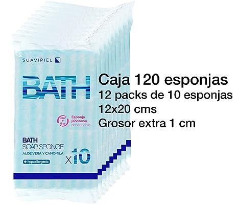 Caja con 120 esponjas jabonosas desechables con grosor extra de 1 cm. Impregnadas con jabón