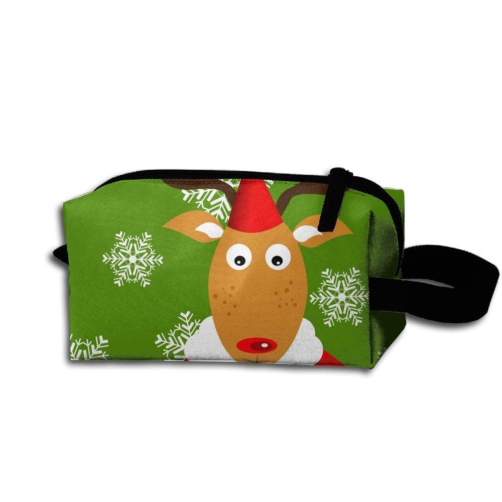 メイクアップコスメティックバッグ クリスマス キュート トナカイ メディシンバッグ ジップ 旅行 ポータブル 収納ポーチ メンズ レディース B07DWPH92D
